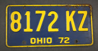 1972 Vintage Original Ohio License Plate 8172-KZ
