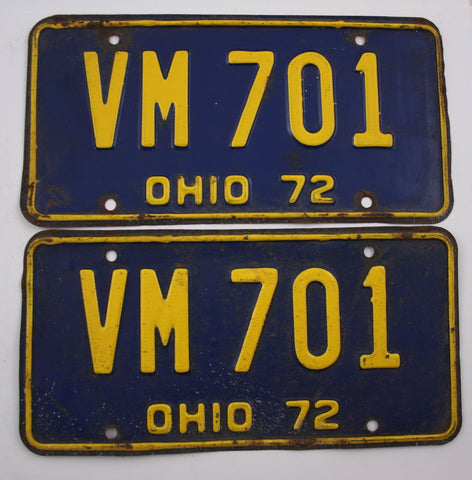 1972 Vintage Original OHIO License Plate PAIR VM-701