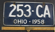 1958 Vintage Original OHIO License Plate  253-CA