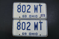 1969 Vintage OHIO LICENSE PLATE SET PAIR 802-WT