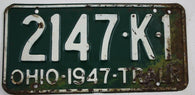 1947  Vintage Original OHIO License Plate 2147-K-1