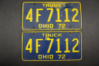 1972 Vintage Original Ohio License Plate 4-F-7112 TRUCK PAIR