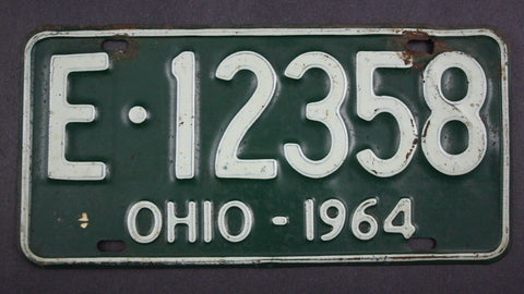 1964 Vintage Original Ohio License Plate E-12358