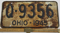 1945 Vintage Original OHIO License Plate Q-9356