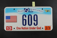 2011 OHIO License Plate 609 One Nation Under God 2012 Sticker (O-4