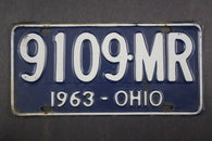 1963 Vintage Original Ohio License Plate 9109-MR