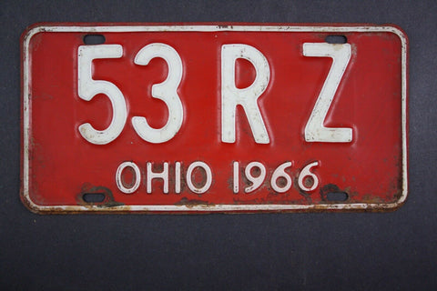 1966 Vintage Original Ohio License Plate 53-RZ