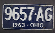 1963 Vintage Original Ohio License Plate 9657-AG