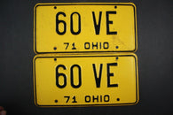 1971 Vintage Original Ohio License Plate 60-VE PAIR
