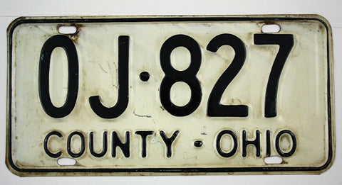 Vintage 1963 Base Original OHIO County Vehicle License Plate OJ-827