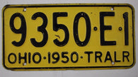 1950 Vintage Original OHIO License Plate 9350-E-1 TRAILER