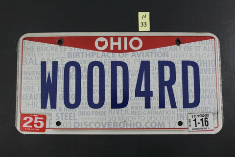 2013 OHIO Vanity License Plate WOOD4RD 2016 Sticker (N-33