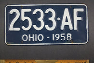 1958 Vintage Original Ohio License Plate 2533-AF