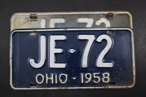 1958 Vintage Original OHIO License Plate JE-72 PAIR