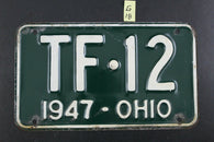 Vintage 1947 OHIO License Plate TF-12 (G18