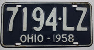 1958 Vintage Original OHIO License Plate Tag 7194-LZ
