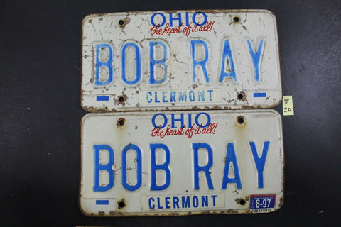 Vintage 1991 OHIO License Plate BOB RAY PAIR 1997 Sticker J20