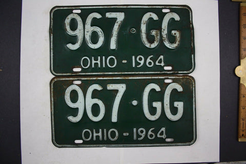 1964 Vintage Original Ohio License Plate 967-GG PAIR