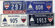 1933-2005 District of Columbia Inaugural License Plate Run FDR-Bush