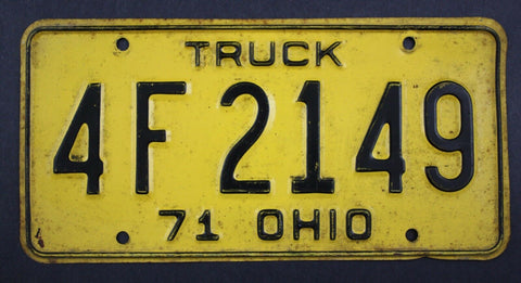 1971 Vintage Original Ohio License Plate 4-F-2149 TRUCK