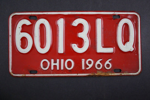 1966 Vintage Original Ohio License Plate 6013-LQ