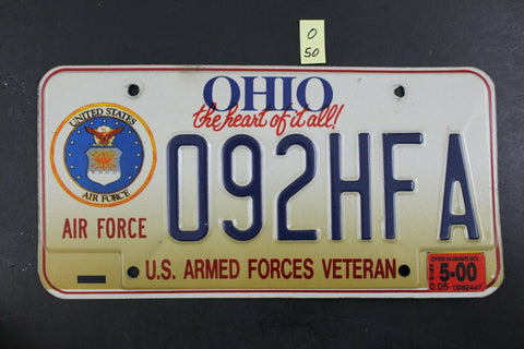1996 OHIO License Plate 092HFA Air Force Armed Forces Veteran 2000 Sticker (O-50