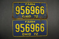 1972 Vintage Original Ohio License Plate 956966 FARM PAIR