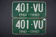 1961 Vintage Original OHIO License Plate 401-VU PAIR