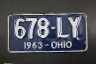 1963 Vintage Original OHIO License Plate 678-LY