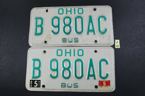 Vintage 1990 OHIO BUS License Plate B-980AC Pair (X43)