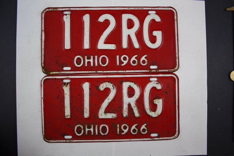 1966 Vintage Original Ohio License Plate 112-RG PAIR