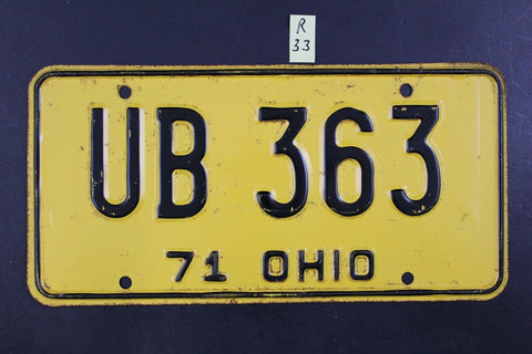 Vintage 1971 OHIO License Plate UB-363 (R-33