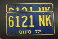 1972 Vintage Original OHIO License Plate 6121-NK PAIR