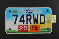2011 Beautiful OHIO MOTORCYCLE License Plate 74RWD 2012 STICKER (MC35