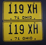 1971 Vintage Original Ohio License Plate 119-XH PAIR
