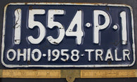 1958 Vintage Original OHIO License Plate 1554-P-1 TRAILER