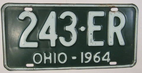 1964 Vintage Original OHIO License Plate 243-ER