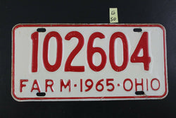 Vintage 1965 OHIO FARM License Plate 102604 (G50