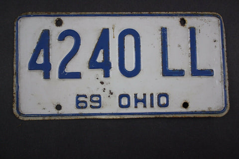 1969 Vintage Original Ohio License Plate 4240-LL