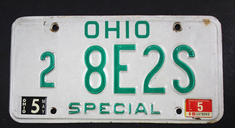 Vintage 1985 Original OHIO Special Dealer License Plate 8E2S