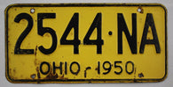 1950 Vintage Original OHIO License Plate Tag 2544-NA