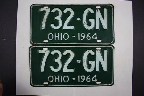 1964 Vintage Original Ohio License Plate 732-GN PAIR
