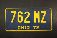 1972 Vintage Original OHIO License Plate 762-MZ