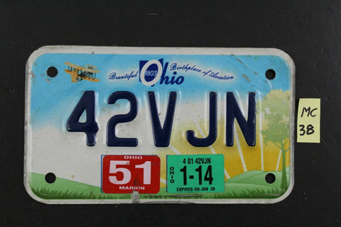 2014 Beautiful OHIO MOTORCYCLE License Plate 42VJN 2014 STICKER (MC37