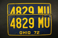 1972 Original Vintage Ohio  License Plate Pair 4829-MU