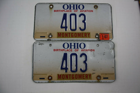 Vintage 1997 Base with 2007 Sticker Original OHIO 3 Digit License Plate 403 PAIR