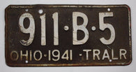 1941 Vintage Original OHIO License Plate 911-B-5  TRAILER