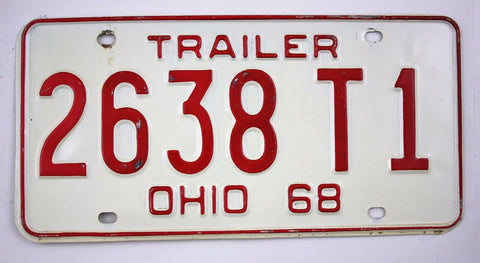 Vintage 1968 Original OHIO Trailer License Plate 2638T1