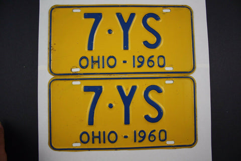 1960  Vintage Original Ohio License Plate PAIR Tags 7-YS