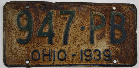 1939  Vintage Original OHIO License Plate 947-PB